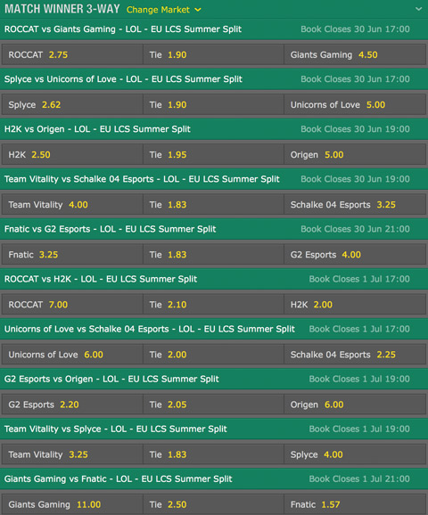 LCS EU 2016 Summer Split Week 5 Schedule and betting odds by bet365