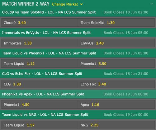 LCS NA 2016 Summer Split Week 3 Schedule and betting odds by bet365