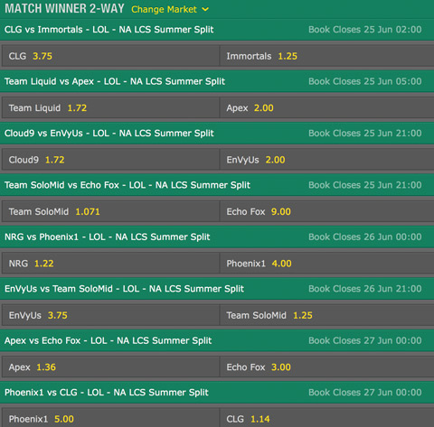 LCS NA 2016 Summer Split Week 4 Schedule and betting odds by bet365