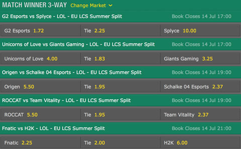 LCS EU 2016 Summer Split Week 7 Schedule and betting odds by bet365