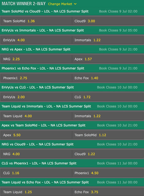 LCS NA 2016 Summer Split Week 6 Schedule and betting odds by bet365
