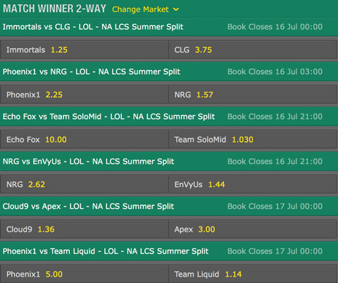 LCS NA 2016 Summer Split Week 7 Schedule and betting odds by bet365