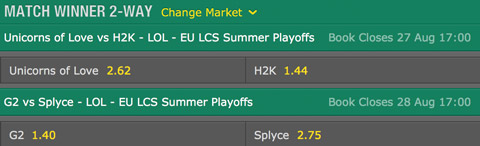 LCS EU 2016 Summer Playoffs finals schedule and betting odds by bet365