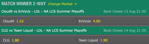 LCS NA 2016 Summer Playoffs Quarterfinals Schedule and betting odds by bet365