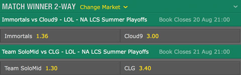 LCS NA 2016 Summer Playoffs Semifinals Schedule and betting odds by bet365