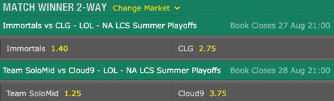 LCS NA 2016 Summer Playoffs finals schedule and betting odds by bet365