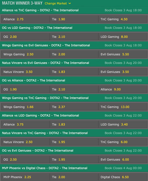 TI6 Group Stage match winner2 betting odds