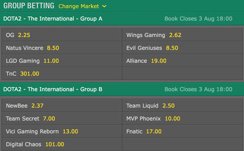 TI6 Group betting odds by bet365