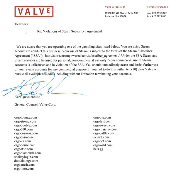 Valve cease and desist letters to all the CSGO skin gambling sites