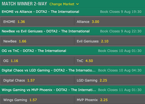 day2 ti6 main event match winner betting odds bet365