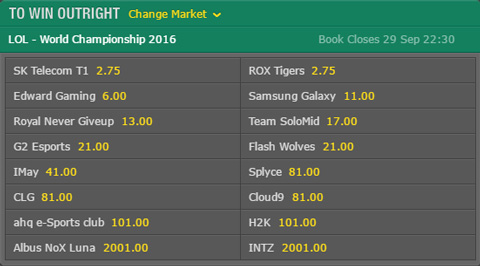 LoL Worlds 2016 Outright Winner Odds Bet365