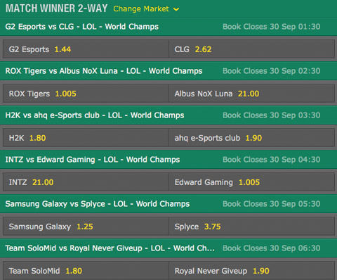 Match Winner Group Stage Day1 Betting Odds LoL World Championship 2016 Bet365