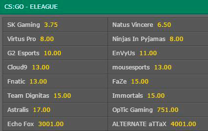 Outright Winner Eleague Season 2 CSGO Betting Odds Bet365