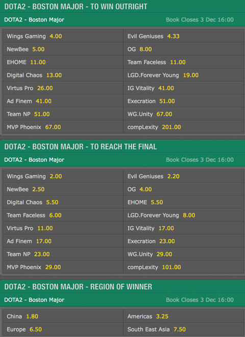 Boston Major Dota 2 Betting odds from bet365