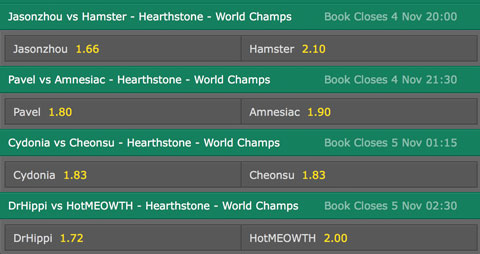 Hearthstone World Championship 2016 Betting Odds Bet365