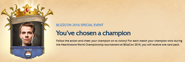 Hearthstone World Championship 2016 Choose Your Champion Tipping Game
