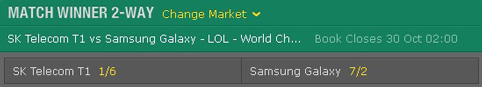 Match Winner Finals Betting Odds LoL World Championship 2016 Bet365