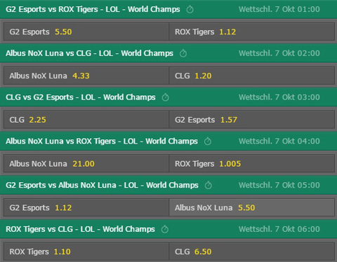 Match Winner Group Stage Day5 Betting Odds LoL World Championship 2016 Bet365