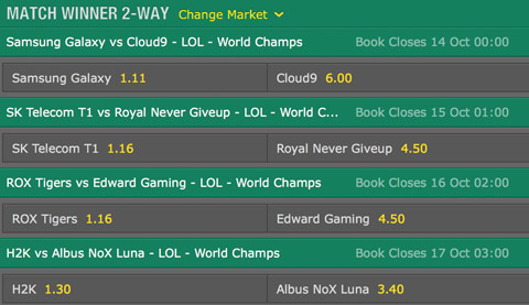 Match Winner Quarterfinals Betting Odds LoL World Championship 2016 Bet365