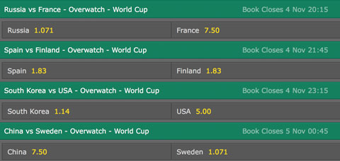 Overwatch - World Cup 2016 - Betting Odds on Bet365