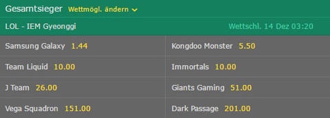 IEM Gyeonggi LoL betting odds outright winner Bet365