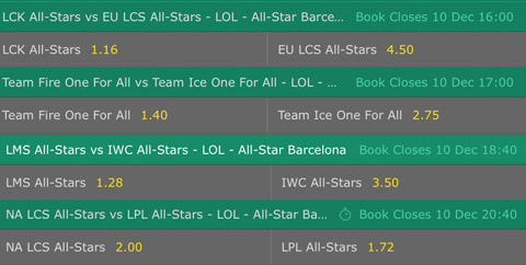 LoL Betting Odds day 3 All star 2016 Bet365