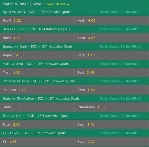 Starcraft2 Betting Odds Qualifier IEM Katowice 2017 at Bet365