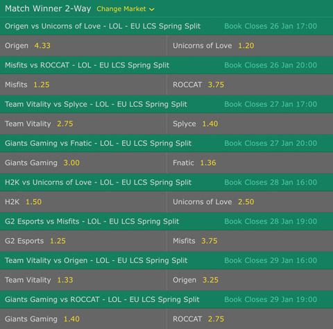 Week 2 Match Winner Betting Odds EU LCS 2017 Spring Split at Bet365