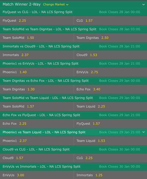 Week 2 Match Winner Betting Odds NA LCS 2017 Spring Split at Bet365