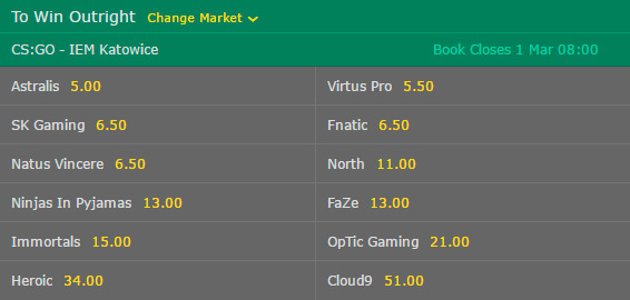 Winner Outright IEM Interl Extreme Masters Katowice 2017 Betting Odds on Bet365