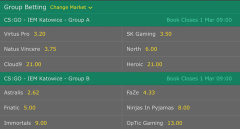 Group Winner Betting Odds CSGO IEM Katowice 2017