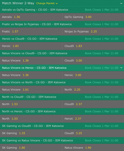 Match Winner Betting Odds CSGO IEM Katowice 2017