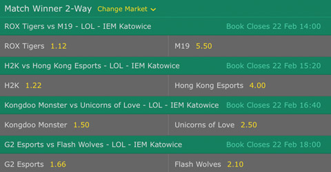 Match Winner Betting Odds LoL IEM Katowice 2017