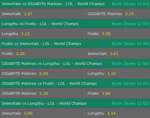 Group Stage Day5 Betting Odds LoL Worlds 2017 Bet365