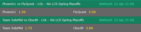Betting Odds Finals NA LCS Spring Playoffs 2017 by bet365