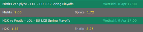 EU LCS Spring Playoffs Quarterfinals 2017 Betting Odds by Bet365.jpg