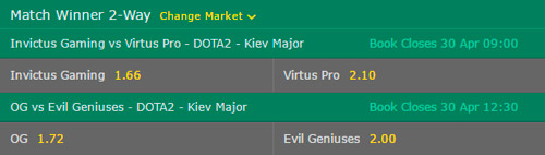 Semifinals of the Kiev Major 2017 Betting Odds on Bet365