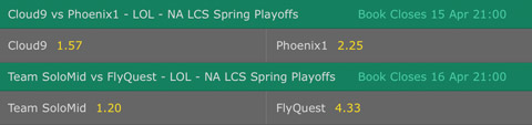 Semifinals NA LCS Spring Playoffs 2017 Betting Odds by Bet365