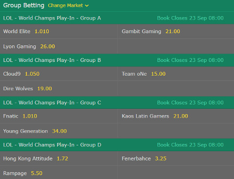 Group Betting LoL Worlds 2017 Bet365