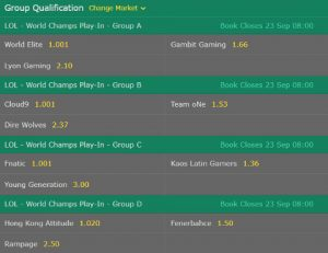 Group Qualification LoL Worlds 2017 Bet365
