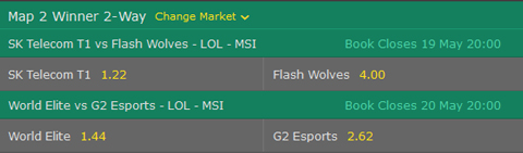 MSI 2017 Betting Odds Playoffs Semifinal at bet365