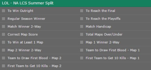 bet365 NA LCS Summer Split 2017 special bets