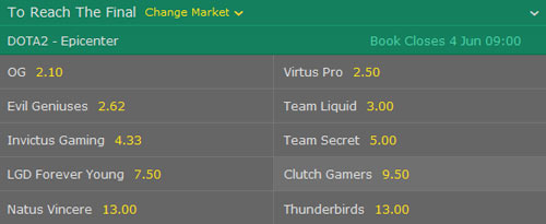 epicenter 2017 dota2 bet365 reach the final betting odds