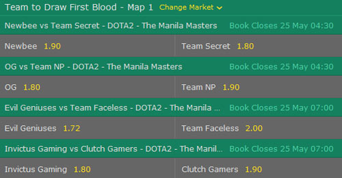 manila masters 2017 dota2 betting odds team to draw first blood