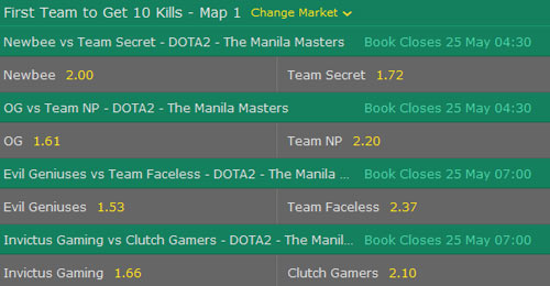 manila masters 2017 dota2 betting odds first team to get kills