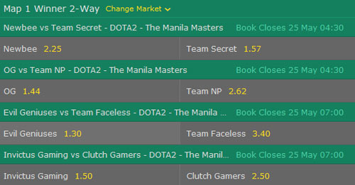 manila masters 2017 dota2 betting odds map winner