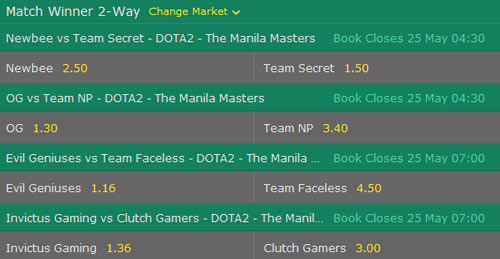 manila masters 2017 dota2 betting odds match winner