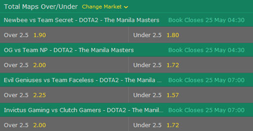 manila masters 2017 dota2 betting odds total maps