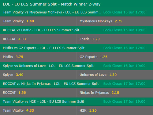 Betting Odds EU LCS Summer Split 2017 Week 3 by bet365