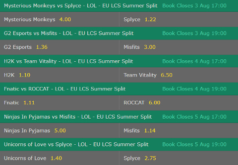 Betting Odds Winner EU LCS Week 9 Summer Split 2017 by bet365